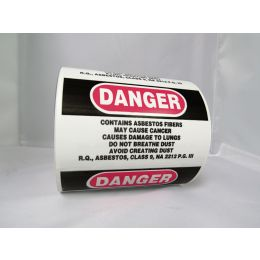 "Danger Asbestos Labels, English, 3""x 5"" (500/RL)"