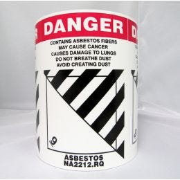 "Danger Asbestos Class 9 Labels, English, 4""x 5"" (500/RL)"
