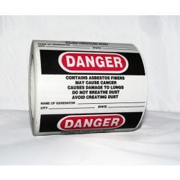 "Danger Asbestos Labels, Generator/City/State Fields, English, 3""x 5"" (500/RL)"