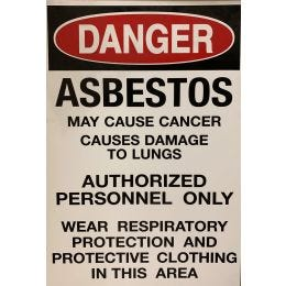 "Danger Asbestos Plastic Sign, English, 14""x20"""