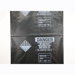 "Printed Asbestos Disposal Bags, 33""x50"", Black, 4mil, 100 Bags/Roll"