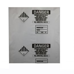 "Printed Asbestos Disposal Bags, 33""x50"", Clear, 4 mil, 75 Bags/Roll"
