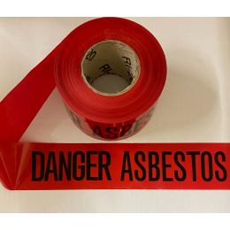 Danger Asbestos Barrier Tape, Red with Black Letters, (1 Roll)