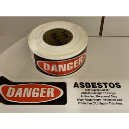 Danger Asbestos Barrier Tape with Cautionary Information (1 Roll)