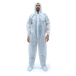 Economy Polypropylene Coveralls with Hood & Boots, White (25/CS)