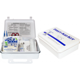 The Safety Zone® 25 Person Plastic First Aid Kit with Wall Mountable Handle, Each
