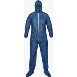 Lightweight Polypropylene Coveralls with Hood & Boots, Blue (25/CS)