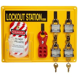 "Honeywell North® Four (4) Padlock Lockout Station, 11""x14"", LSE104F"