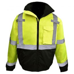 Radians SJ11QB Class3 High Visibility Weatherproof Bomber Jacket with Quilted Built-in Liner Front