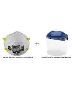 *COMBO SPECIAL* MCR™ Safety 103 Headgear w/ Clear PETG Face Shield (181540) + 1 Box of 3M™ 8210 N95 Disposable Particulate Respirators